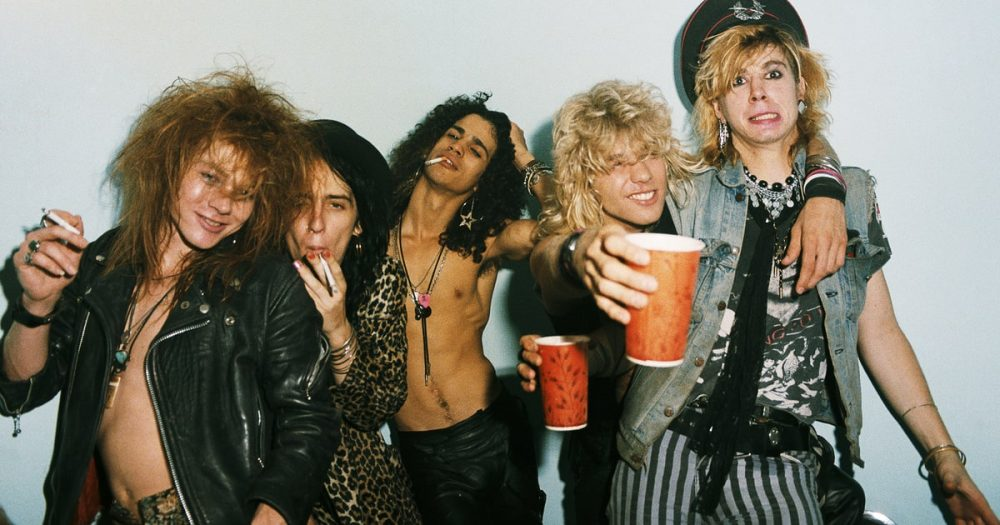Guns and Roses Band picture photoshoot Smoking and Drinking